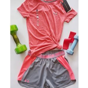 UNDER ARMOUR Outfit: Tee Shirt & Shorts Set NWT XS